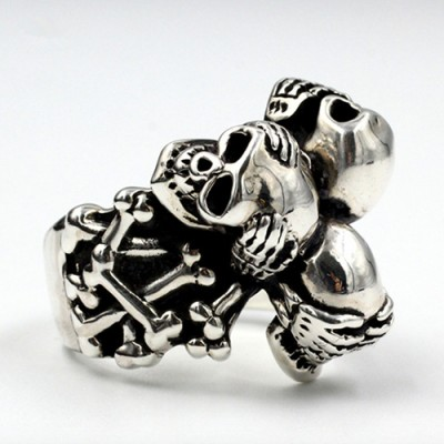 Men's Sterling Silver See No Hear No Speak No Evil Skull Trio Ring