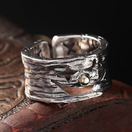Men's Sterling Silver Smiling Clown Ring