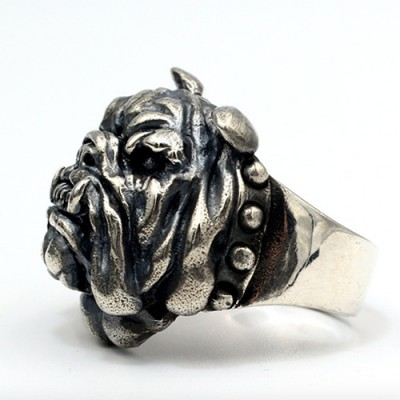 Men's Sterling Silver Bulldog Ring