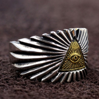 Men's Sterling Silver All-Seeing Eye Wide Ring