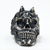 Men's Sterling Silver Horn Skull Ring