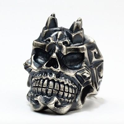 Men's Sterling Silver Horn Skull Ring