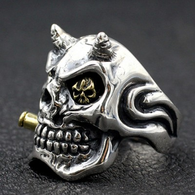 Men's Sterling Silver Smoking Skull Ring