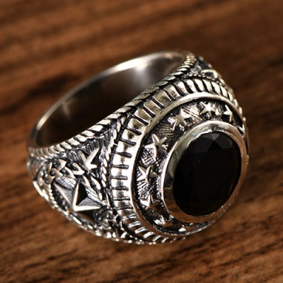 Men's Sterling Silver Stars Obsidian Ring
