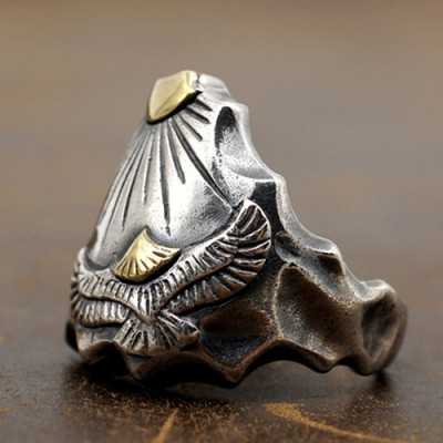 Men's Sterling Silver Sun and Eagle Ring
