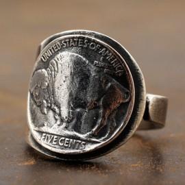 Men's Sterling Silver Buffalo Coin Wrap Ring