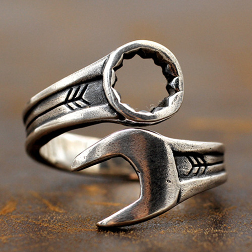 Men's Sterling Silver Wrench Wrap Ring