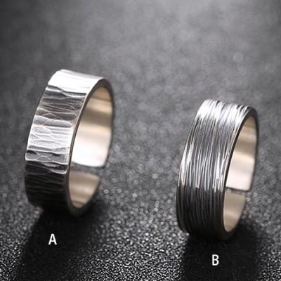 Men's Fine Silver Stripe Pattern Pinky Ring
