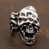 Men's Sterling Silver Blindfolded Skull Ring