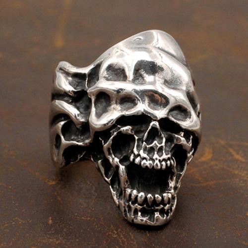 Men's Sterling Silver Blindfolded Skull Ring