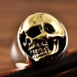 Men's Sterling Silver Golden Skull Ring