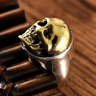 Men's Sterling Silver Golden Skull Ring