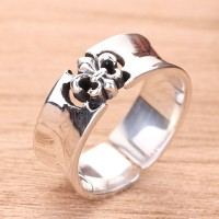 Men's Sterling Silver Fleur De Lis Ring