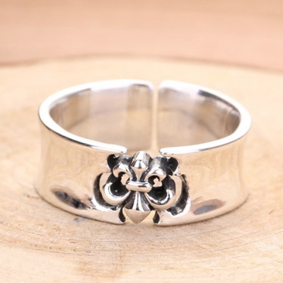 Men's Sterling Silver Fleur De Lis Ring