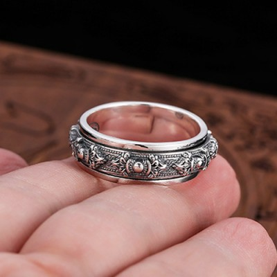 Men's Sterling Silver Vajra Spinner Ring
