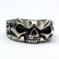 Men's Sterling Silver Monster Skull Ring