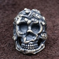 Men's Sterling Silver Human Bodies Skull Ring
