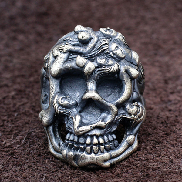 Solid Hand Cast Silver Plated White Bronze Human Rib Cage Skeleton Bone Ring Upper Torso Medical Statement RIng