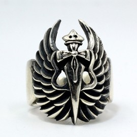 Men's Sterling Silver Angel Sword Ring
