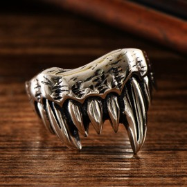 Men's Sterling Silver Dragon Claw Ring
