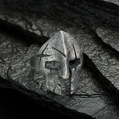 Men's Fine Silver Spartan Helmet Ring