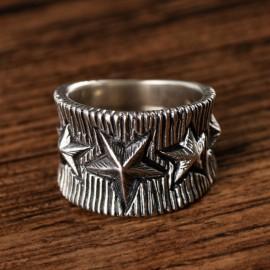 Men's Sterling Silver Stars Ring