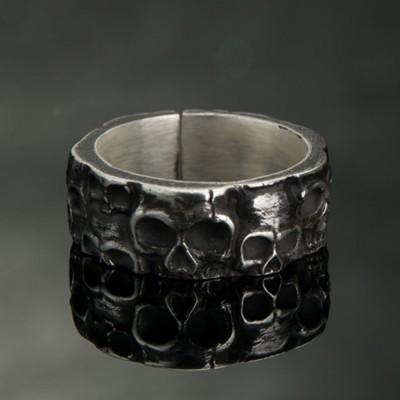 Men's Fine Silver Skulls Wrap Ring