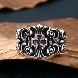 Men's Sterling Silver Ivy Pattern Iron Cross Ring