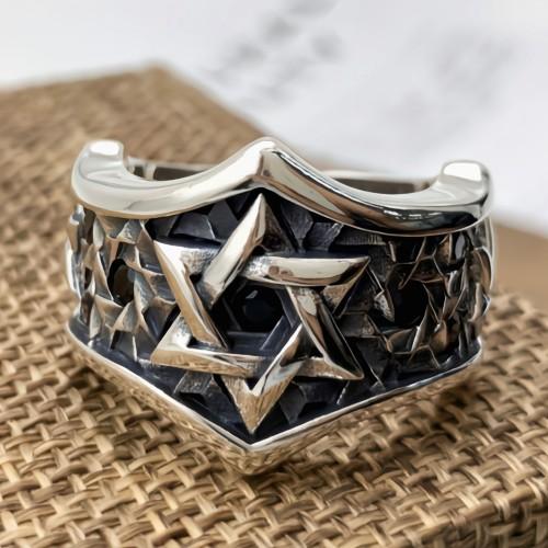 Men's Sterling Silver Star of David Ring