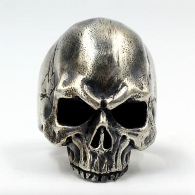 Men's Sterling Silver Biker Skull Ring