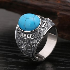 Men's Sterling Silver the U.S. Eagle Turquoise Ring