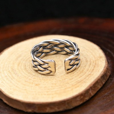 Sterling Silver Wide Braided Wrap Ring
