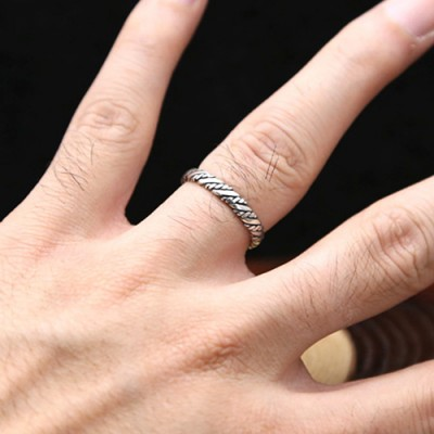 Sterling Silver Slim Braided Wrap Ring