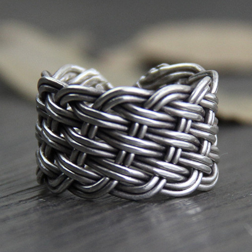 Fine Silver Wide Braided Wrap Ring
