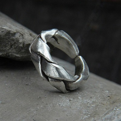 Sterling Silver Wide Strip Braided Pinkie Ring