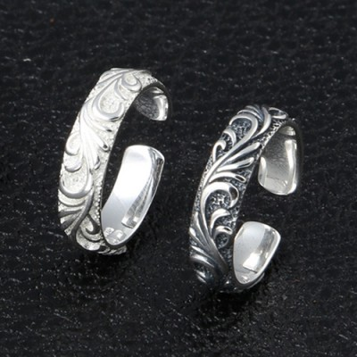 Sterling Silver Ivy Pattern Wrap Ring