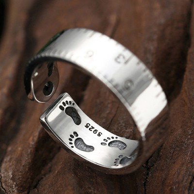 Sterling Silver Ruler Pinky Ring