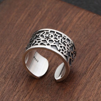 Sterling Silver Stars Pinky Ring