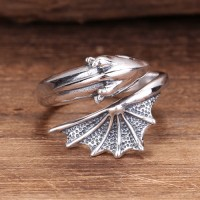 Sterling Silver Flying Dragon Ring