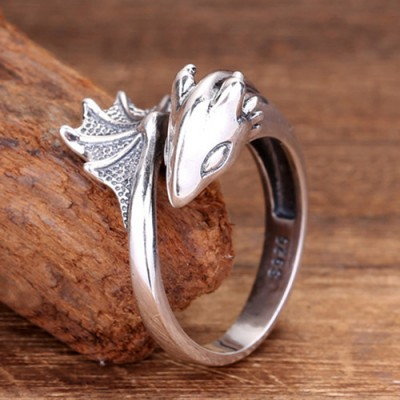 Sterling Silver Flying Dragon Ring