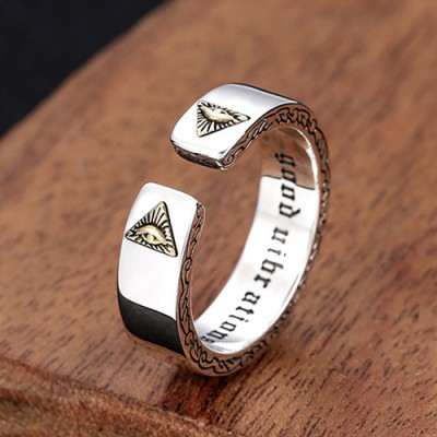 Sterling Silver All-Seeing Eyes Wrap Ring