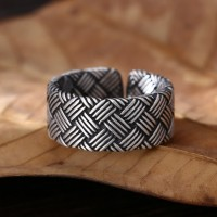Fine Silver Braided Pattern Pinky Ring
