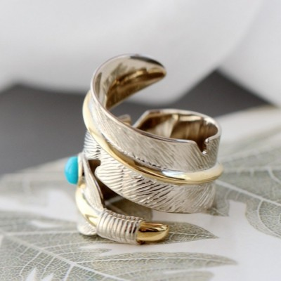 Gold Plated Sterling Silver Turquoise Feather Ring