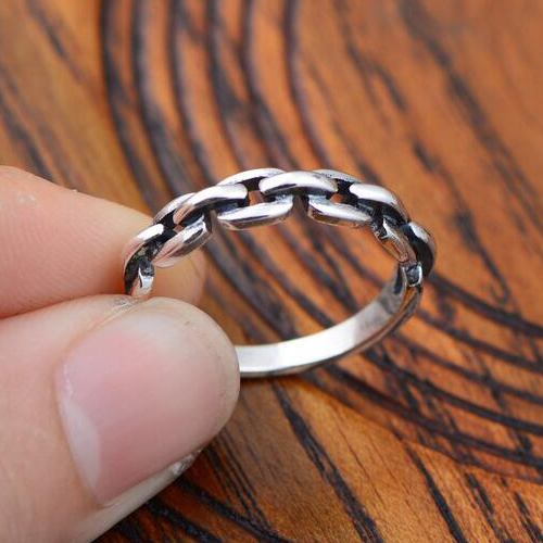 Women's Sterling Silver Chain Ring