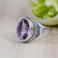 Women's Sterling Silver Amethyst Ring