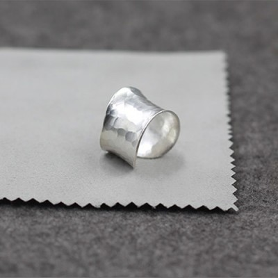 Women's Sterling Silver Hammered Wide Wrap Ring