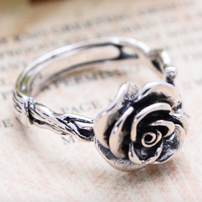 Women's Sterling Silver Rose Ring