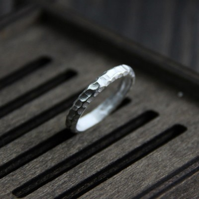 Women's Fine Silver Hammered Ring