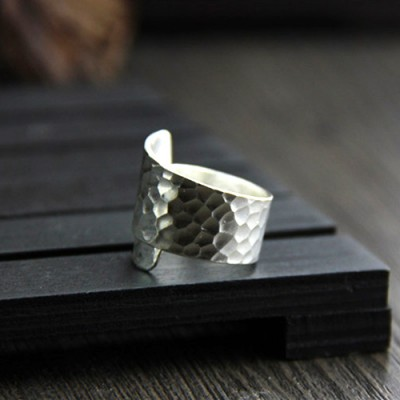 Women's Fine Silver Hammered Wrap Ring