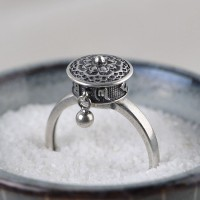 Women's Sterling Silver Prayer Wheel Ring